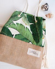 Palm Print Burlap Beach Bag The Sandbag in Green Banana Leaf