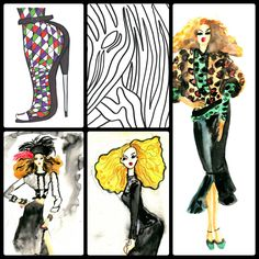 Some of the illustrations from Wendy DeFeudis' fashion coloring book. Adult Coloring, Coloring Books, Librarian Chic, Black And White Illustration, Custom Art, Colorful Fashion, New York Fashion, Creative Art, Illustrators