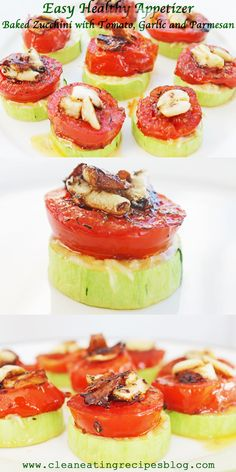 Click pin for tonight's easy cheesy healthy baked zucchini stack with shredded park, tomato and garlic. Super simple and super yummy! Enjoy. #cleaneating #cleaneatingrecipe #healthyrecipe