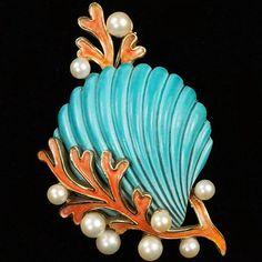Trifari 'Alfred Philippe' Pink Coral Pearl Bubbles and Blue Scallop Seashell Pin