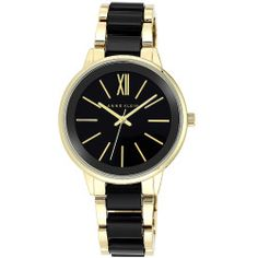 Anne Klein Glossy Dial Black & Gold-Tone Bracelet Link Band Watch - Ladies - Black - Anne Klein