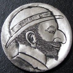 Detailed Hobo Buffalo Nickel Hand Carved Man in Derby with Bow and Beard T218 | eBay