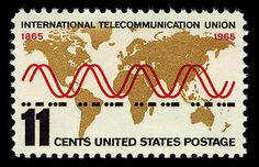 Stamp designed by Thomas F. Naegele,  1965.  The International Telecommunication Union was founded in 1865 to control telegraph communications, it now regulates radio, telephone and telegraphic transmissions