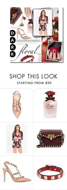 """""""I go blind.."""" by fia-sim-77 ❤ liked on Polyvore featuring Valentino, GUINEVERE, Dolce&Gabbana, darkfloral, crimsonred and darkbloom"""
