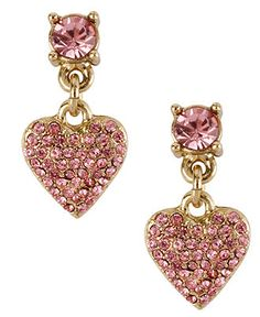 Betsey Johnson Earrings, Gold-Tone Pink Glass Crystal Heart Drop Earrings - All Fashion Jewelry - Jewelry & Watches - Macy's