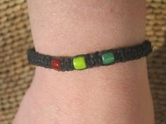 Black Rasta Macrame Hemp Bracelet Adjustable by Abundantearthworks, $6.00