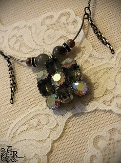 Glamour Crescent Necklace w/ Antique Rhinestone by artefactredux, $29.00