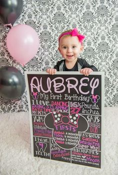 Minnie Mouse Chalkboard for 1st Birthday Photoshoot! Pink and purple minnie…