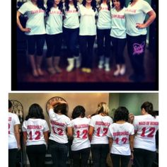 Team Bride shirts! Cute idea my sister made for the Bridesmaids. On the back of each shirt was the year plus Bridesmaid, Maid of Honor or the Future MRS... We wore them the day of the wedding while getting ready.  So fun!