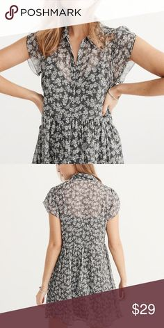 Tulip Sleeve Shirtdress Never worn-NWOT, comes with slip. Super cute and perfect for spring. Spring 2017 collection from A&F Abercrombie & Fitch Dresses