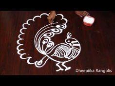Beautifull peacock rangoli design without dots * freehand peacock kolam* easy rangoli Peacock Rangoli, Simple Rangoli, Creative Video, Stencil Painting, Rangoli Designs, Traditional House, Stencils, Dots, Make It Yourself