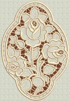Three Roses Medallion Cutwork Lace