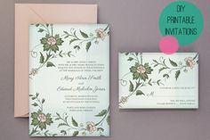Free floral DIY printable wedding invites. So pretty