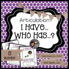 """Articulation I Have Who Has Game: S Blends is an articulation version of the game """"I Have..Who Has,"""" which is a great activity to work on a variety of speech and language skills. This articulation version of the game contains 22 words (23 playing cards + a cover for each set) with the target sound as associated pictures. $ PK-1"""