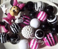 Minnie Mouse Inspired Bubblegum DIY Necklace Kit, 20mm chunky beads, DIY Chunky necklace, 20mm beads