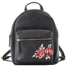 Charlotte Russe Floral Embroidered Backpack (135 DKK) ❤ liked on Polyvore featuring bags, backpacks, backpack, black, backpack bags, zip bag, strap backpack, knapsack bag and vegan leather backpack