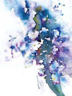 "Jean Haines, ""Bacopa Blues"" watercolour."