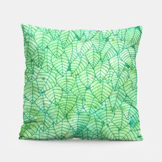 """""""Green foliage"""" Pillow by Savousepate on Live Heroes #homedecor #green #foliage #leaves #nature #pattern #drawing #watercolor"""
