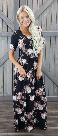 The Miranda is a black floral print slips on style maxi dress, which features half sleeves and stretch. A perfect maxi dress for all seasons! This dress looks great on all sizes. <3 Floral Maxi Dress/ Maxi Dresses/ Long Dresses