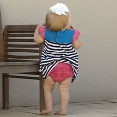 Baby Girls Navy Stripe Hot Pink Dress with Bloomers