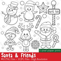 Santa and Friends - Digital stamps set - Christmas clipart