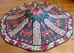 Handcrafted Quilted Christmas Tree Skirt in Red and Green and Cream fabrics Christmas Decorations For The Home, Holiday Decor, Christmas Wishes, Christmas Tree, Winter Quilts, Quilts For Sale, Table Toppers, Favorite Holiday, Tree Skirts