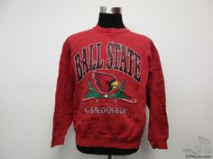 Vtg 20/20 Ball State Cardinals Crewneck Sweatshirt sz L Large University NCAA #2020 #BallStateCardinals #tcpkickz