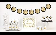 Celebrate your Birthday Party with a little glitz and glam with our Gold & Glitter Birthday Party Decor Kit. Each Kit includes Metallic Foil and Glittery Gold items such as banners, stickers and cupca