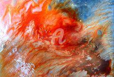ilina (Peinture),  50x40x0 cm par DOLORES VIEVILLE Mixes media Prisme fantasy + vitrail orange