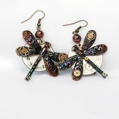 Unique Steampunk Dragonfly Earrings Recycled Vintage by poppydot