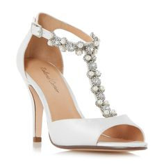 ROLAND CARTIER LADIES MESMORISE - Jewel And Pearl Embellished T-Bar Peep Toe Sand - ivory | Dune Shoes Online