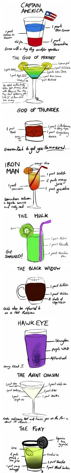 Avengers Cocktails...Most sound pretty horrible, but the God of Thunder is intriguing!