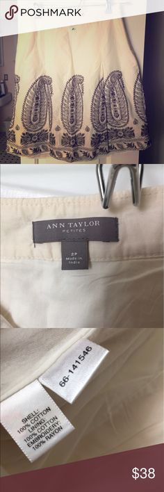 Linen skirt Ivory/cream with brown embroidered at bottom of skirt! Never worn Ann Taylor Skirts A-Line or Full