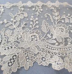 "Antique Handmade Brussels Point de Gaze Needle Lace 42"" Collar Trim PR Cuffs | eBay"