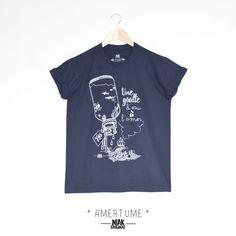 0df3e5be8a9e1 T-shirt homme bleu marine original. pensé, dessiné, sérigraphié par Niak  Original