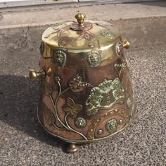 Good late century Dutch copper and brass coal bin with original lid. This example is slightly more unusual than normal as it is beautifully decorated Copper And Brass, Antique Copper, Nursing Chair, Walnut Chair, Victorian Frame, Copper Kitchen, Tea Caddy, Coat Of Arms, 19th Century