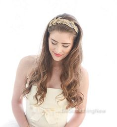 Gold Leaf and Flower Wide Headband on Gray Gold Lace Headband
