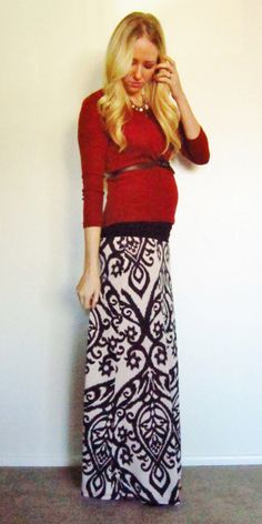 Christmas outfit??  Fall Winter maxi skirt prego outfit: Cost $35 at MotherhoodCloset.com. Dark Orange sweater- Forever 21 $ 12.50; and Damask maxi skirt- Bella Ella Boutique $23.75!