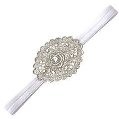 Velvet Lace Vintage White Color Headband for Newborn Baby Girls, Girls, Toddlers, Flower Girls, (0-3months). This beautiful Vintage looking headband is perfect for a newborn baby girls, its embellished with Swarovski Crystals and attached to a velvet thin stretch band. This listing is for white color stretch band with silver lace. Silver color Headband has clear Swarovski crystals.. Perfect for newborns photography, first Christmas, Birthdays, Flower girls, Christening, Baptism and more....
