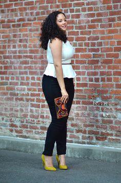 Curvy Girl Fashion - Pop of Neon {Wearing} New York & Co. Peplum (similar here) / Ann Taylor Belt (similar here & here) / Forever 21 Ring and Clutch (similar here) / Torrid Skinnies / Veronique Pump in Citron, thanks to ShoeMint