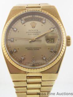 Genuine Mens Rolex President Day Date 18k Gold w Orig Diamond Dial Quartz Watch #Rolex #Sport