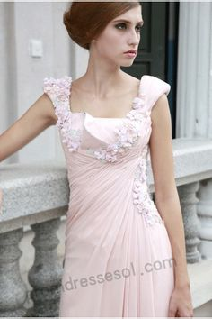tiffany pink spaghetti-strap floor-length silk evening/party dress(80521)