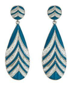 43 blu bijoux blue chevron drop earrings