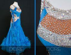 Blue Velvet Standard w Nude Cut Outs Boa Dangles & Blue  Boas on Skirt