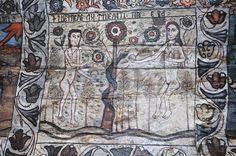 Biserica de lemn din Deseşti, judeţul Maramureş - Ispita şarpelui Religious Paintings, Popular Art, Romania, Christianity, Angels, Paint, Angel, Angelfish