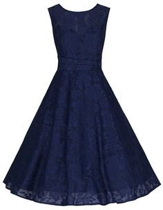 Sleeveless Navy Lace Audrey Swing Dress