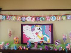 Painted the Princess Celestial poster - they did not sell them close to here. Cut the banner out and added small My Little Pony pictures. Used the MLP collection for decorations with some white Christmas lights and tulle.