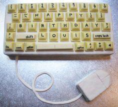 Old-school computer keyboard birthday cake. By @saskiaericson