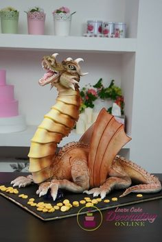 How to Make a Dragon Cake with Fire Blowing Effects - Cake Decorating Dıy Ideen Crazy Cakes, Fancy Cakes, Pink Cakes, Cupcakes, Cupcake Cakes, Shoe Cakes, Cupcake Frosting, Dragons Cake, Make A Dragon