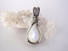 Rainbow Moonstone Pendant ~ Handcrafted with Eco-Friendly Recycled Sterling Silver ~ Teardrop Gemstone Pendant ~ Lunar Goddess ~ Moon Magick by KarmicStar on Etsy